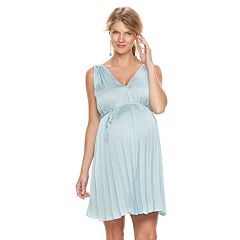 Maternity a:glow Pleated Satin Fit & Flare Dress