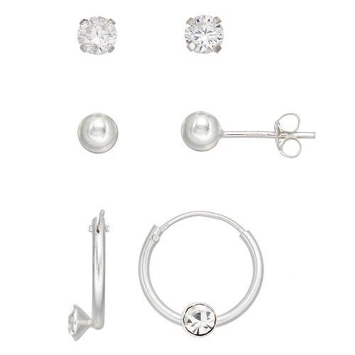 Charming Girl Kids' Crystal Stud & Hoop Earring Set