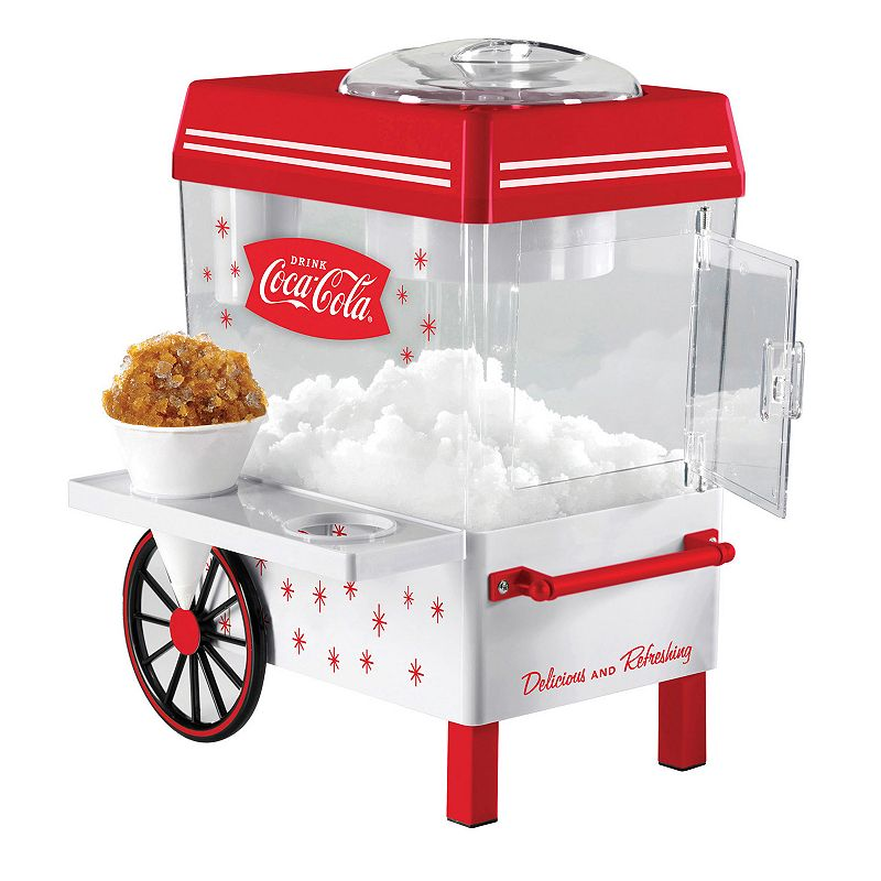 Nostalgia Electrics Coca-Cola Snow Cone Maker Serve up loads of icy Coca-Cola fun with this Nostalgia Electrics snow cone maker. Coca-Cola design is perfect for collectors Stainless steel cutting blades effortlessly transform ice into snow cones Easy fill-and-turn-on operation Serve snow from the ice storage bin and prepare using the handy cone shelf PRODUCT CONSTRUCTION CARE Metal, plastic Wipe clean Manufacturer's 1-year limited warrantyFor warranty information please click here 15.3 H x 12 W x 8 D Model no. SCM550COKE  Size: One Size. Color: Multicolor. Gender: unisex. Age Group: adult.
