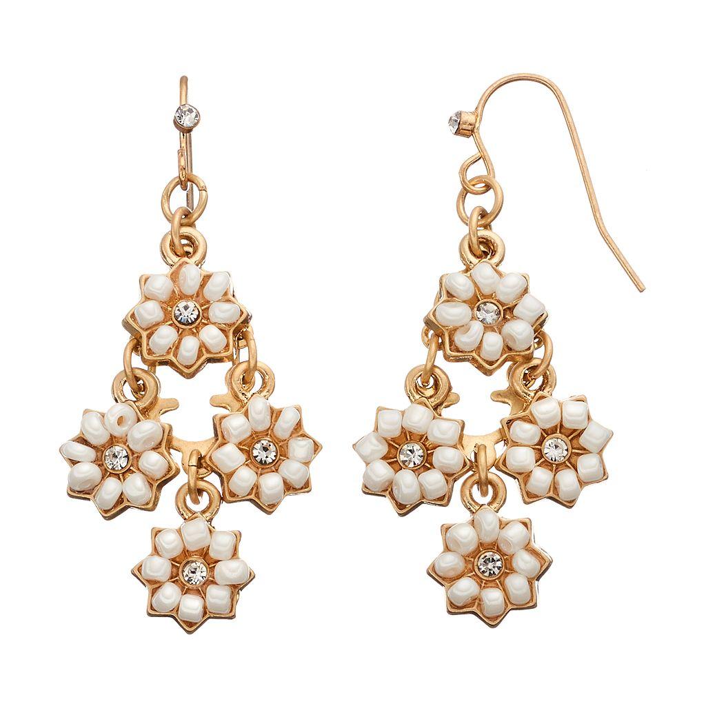 LC Lauren Conrad White Flower Nickel Free Kite Earrings