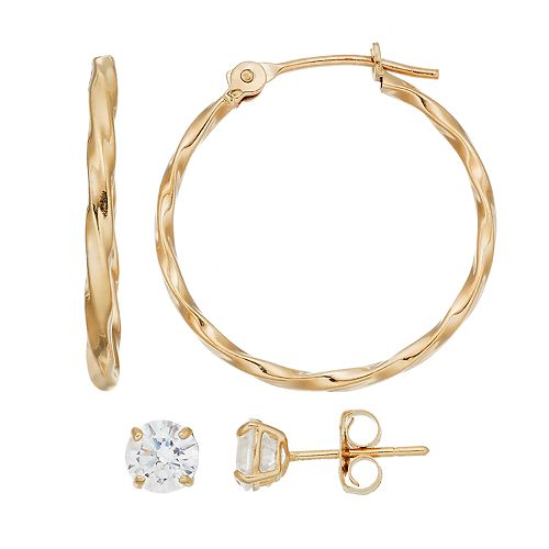 Forever 14K Textured Hoop & Cubic Zirconia Stud Earring Set