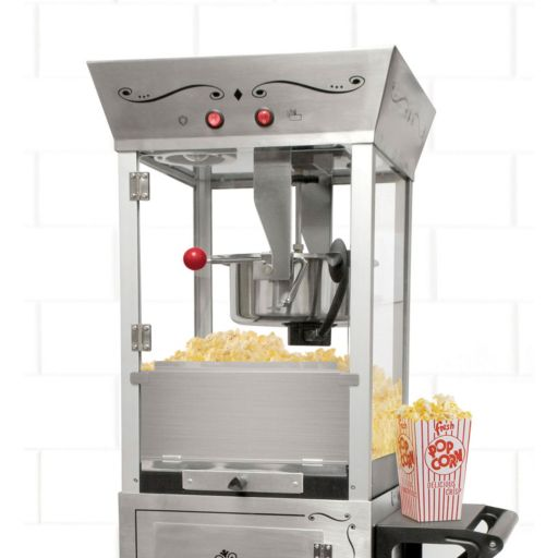Nostalgia Electrics Vintage Collection Stainless Steel Popcorn Cart
