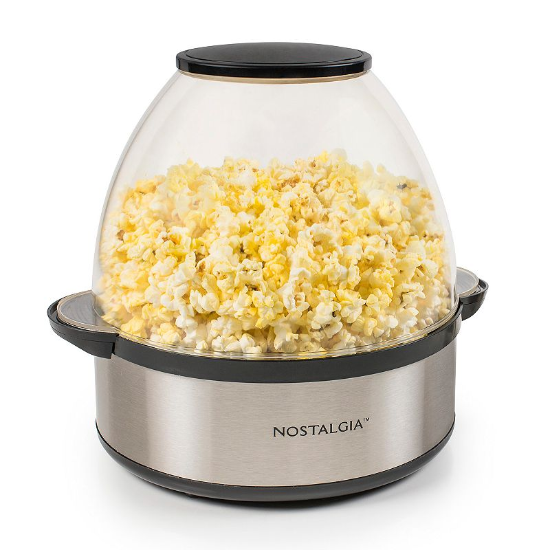 Nostalgia Electrics Stainless Steel Stir-Pop 6-qt. Popcorn Popper Take movie night up a notch with this sleek stainless steel popcorn popper by Nostalgia Electrics. Clear dome doubles as a serving bowl Built-in stirring rod continuously moves popcorn through the oil to prevent burning Pops a full batch in approximately 5 minutes Works great with Nostalgia Electrics pre-measured pouches PRODUCT CONSTRUCTION CARE Metal, plastic Wipe clean Manufacturer's 1-year limited warrantyFor warranty information please click here 9.8 H x 9.8 W x 11.8 D 6-qt. capacity Model no. SP660SS  Size: One Size. Color: Multicolor. Gender: unisex. Age Group: adult.