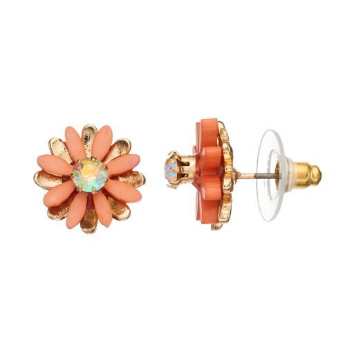 LC Lauren Conrad Peach Flower Nickel Free Stud Earrings
