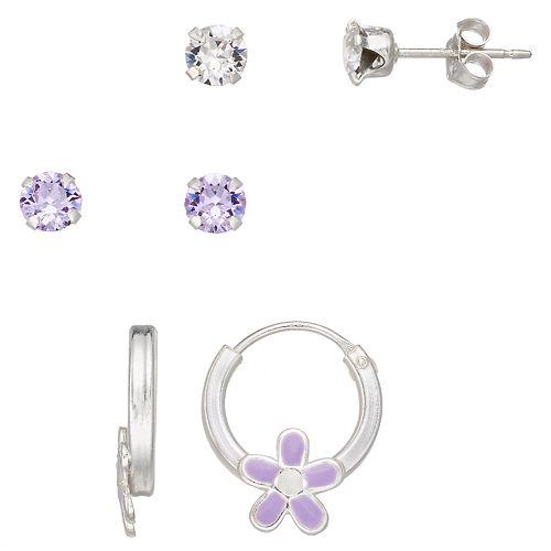 Charming Girl Kids' Crystal Stud & Flower Hoop Earring Set