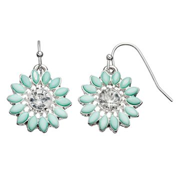 LC Lauren Conrad Aqua Flower Nickel Free Drop Earrings