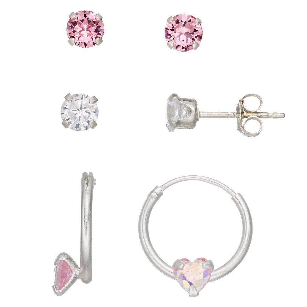 Charming Girl Kids' Cubic Zirconia & Crystal Earring Set