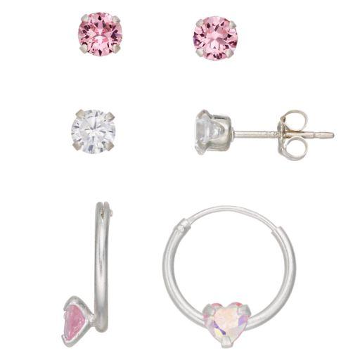 Charming Girl Kids' Cubic Zirconia & Crystal Earring Set