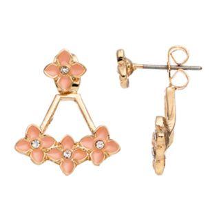 LC Lauren Conrad Peach Flower Nickel Free Front Back Earrings