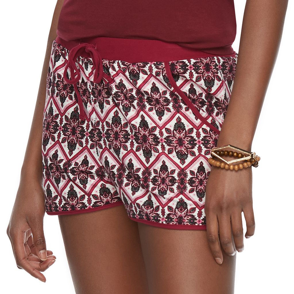 Juniors' Pink Republic Peached Drawstring Soft Shorts