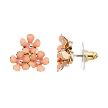 LC Lauren Conrad Pink Flower Cluster Nickel Free Stud Earrings