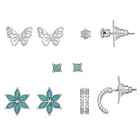 LC Lauren Conrad Flower & Butterfly Nickel Free Stud Earring Set