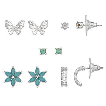LC Lauren Conrad Flower & Butterfly Nickel Free Stud Earring Set