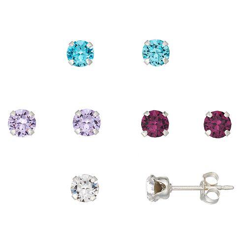 Charming Girl Kids' Crystal Stud Earring Set