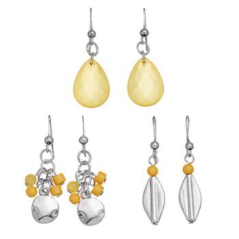 Yellow Beaded Nickel Free Drop Earring Set