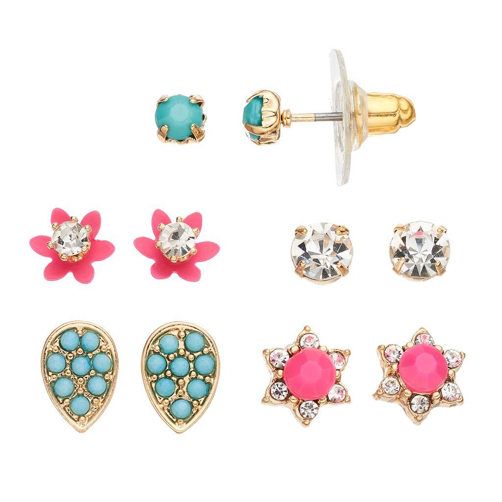 LC Lauren Conrad Flower, Star & Teardrop Nickel Free Stud Earring Set