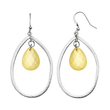 Yellow Beaded Nickel Free Orbital Teardrop Earrings