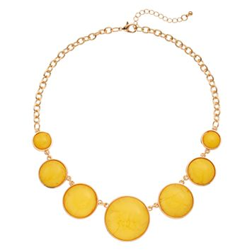 Yellow Round Graduated Cabochon Necklace