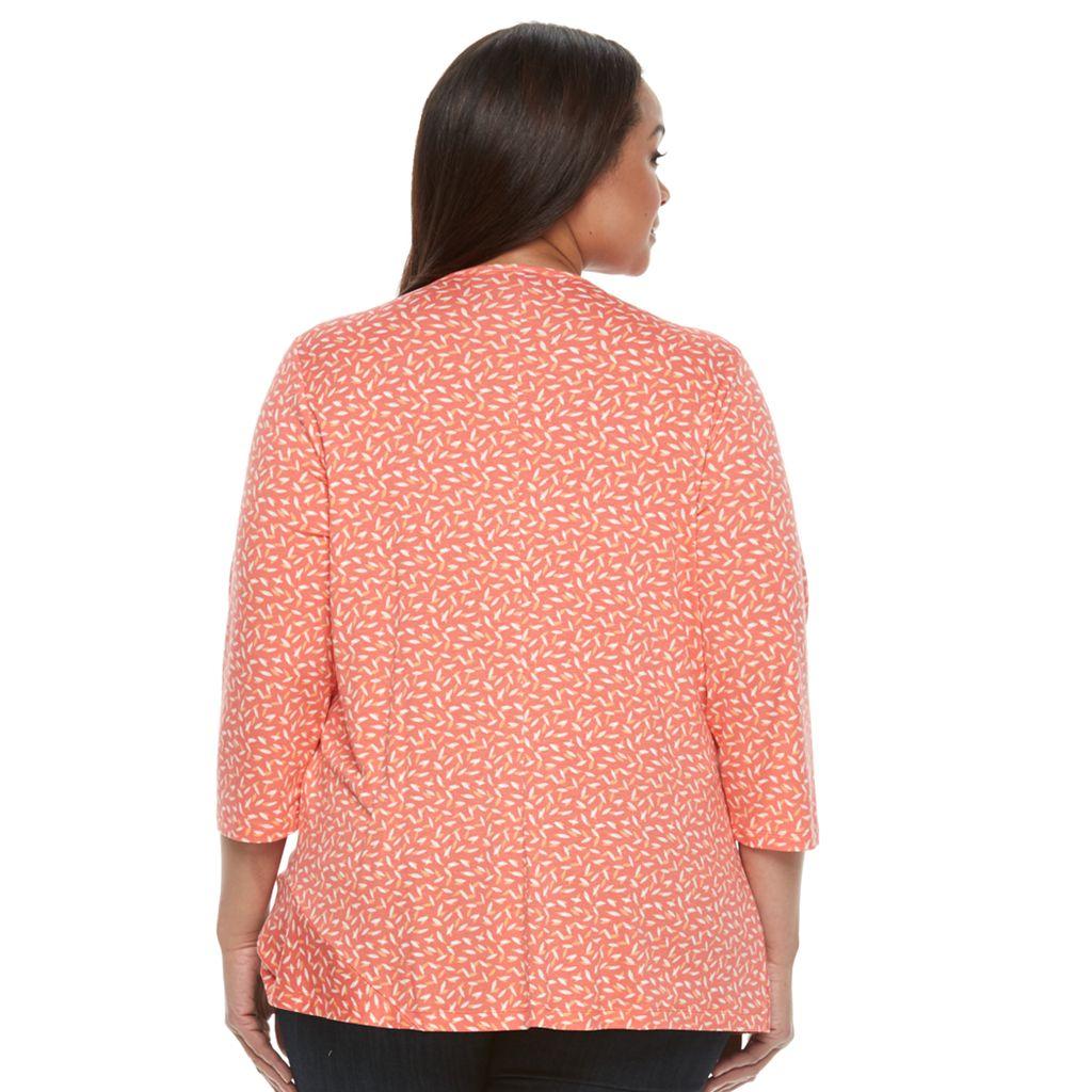Plus Size Croft & Barrow® Cinch-Hem Scoopneck Top