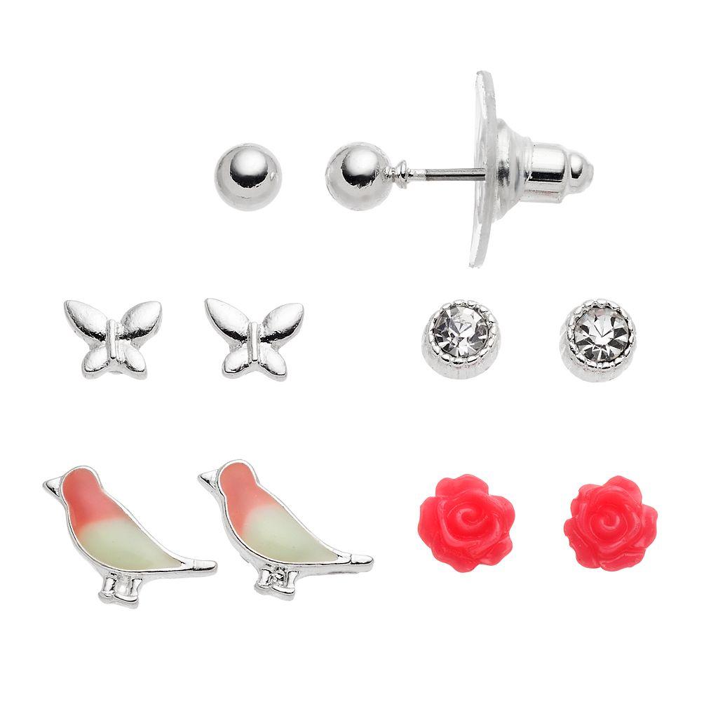 LC Lauren Conrad Rosette, Bird & Butterfly Nickel Free Stud Earring Set