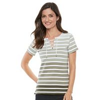 Women's Croft & Barrow® Lace-Up Tee