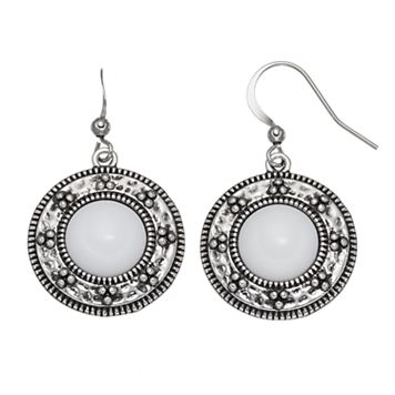 Nickel Free Textured Disc White Cabochon Drop Earrings
