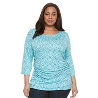 Plus Size Croft & Barrow® Ruched Scoopneck Top