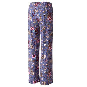 Juniors' Pink Rose Elastic Waist Wide Leg Pants