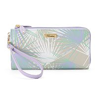 Buxton Tropical Palms Double L-Zip Wallet