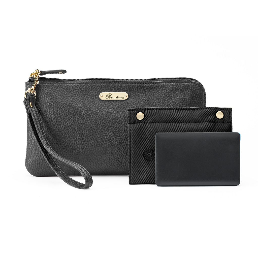 Buxton RFID-Blocking Phone Charging L-Zip Wristlet