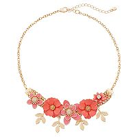 LC Lauren Conrad Pink Flower & Leaf Statement Necklace