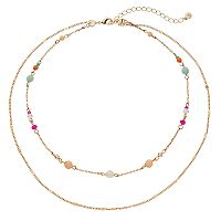 LC Lauren Conrad Beaded Double Strand Necklace