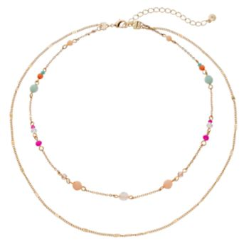 LC Lauren Conrad Beaded Double Strand Necklace