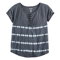 Girls 7-16 & Plus Size Mudd® Lace-Up Raglan Tie-Dye Tee