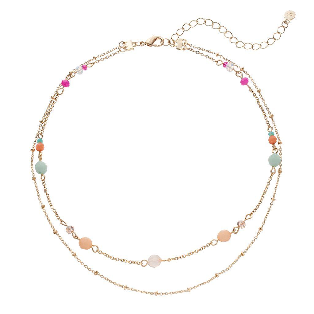 LC Lauren Conrad Beaded Double Strand Choker Necklace