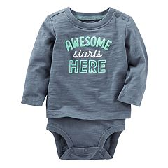 Toddler Boy  OshKosh B'gosh® Mock-Layer 'Awesome Starts Here' Bodysuit