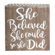 "Belle Maison ""She Believed She Could"" Box Table Decor"
