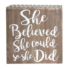 Belle Maison 'She Believed She Could' Box Table Decor