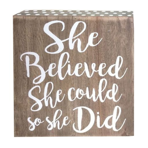 """Belle Maison """"She Believed She Could"""" Box Table Decor"""