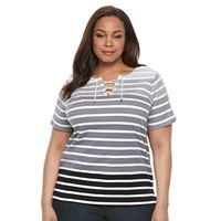 Plus Size Croft & Barrow® Lace-Up Tee
