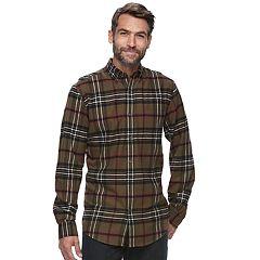 Big & Tall Croft & Barrow® True Comfort Plaid Slim-Fit Flannel Button-Down Shirt