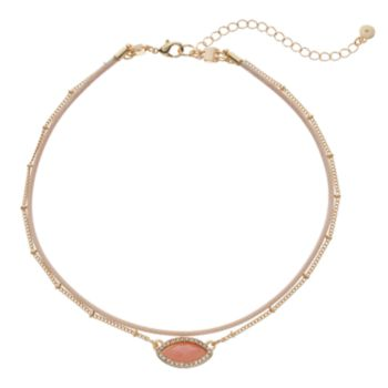 LC Lauren Conrad Pink Marquise Double Strand Choker Necklace