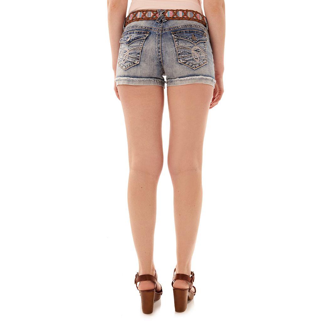 Juniors' Wallflower Legendary Frayed Hem Shortie Shorts