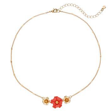 LC Lauren Conrad Pink Flower Necklace