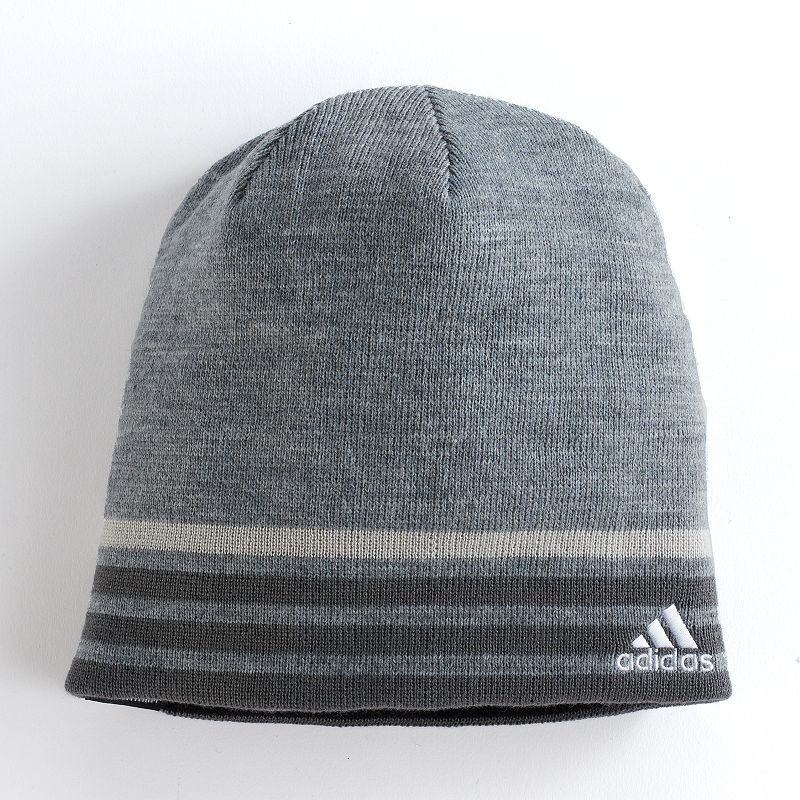 Men's Adidas Reversible Beanie, Grey With its reversible design, you can choose how you wants to wear this men's Adidas beanie. Fabric allows for temperature regulation Reversible design FIT & Sizing One size fits most Fabric & Care Acrylic Hand wash Imported Size: Onesize. Color: Grey. Gender: Male. Age Group: Adult. Material: Polyester.