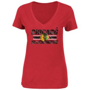 Plus Size Majestic Chicago Blackhawks V-Neck Tee