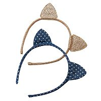 Girls 4-7 Carter's 2-pk. Polka-Dot & Glitter Cat-Ear Headbands