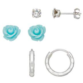 Charming Girl Kids' Crystal & Flower Earring Set
