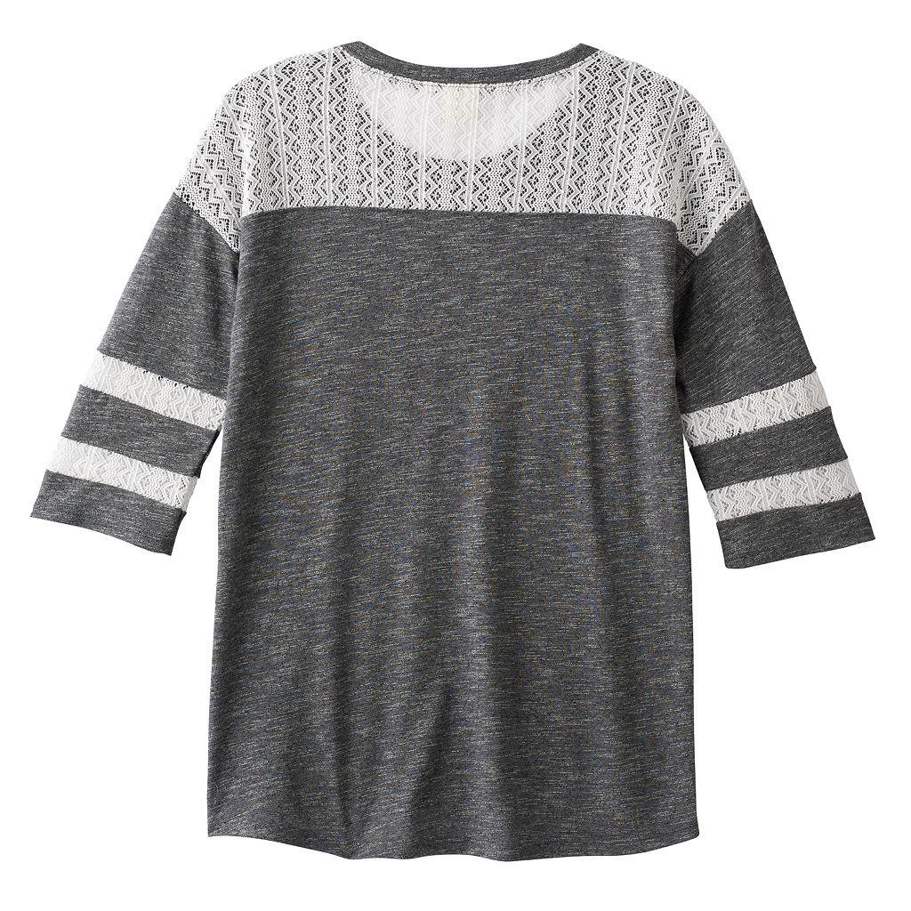 Girls 7-16 & Plus Size Mudd® Lace Yoke Varsity Tee