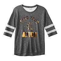 Girls 7-16 & Plus Size Mudd® Lace Yoke Varsity Tee
